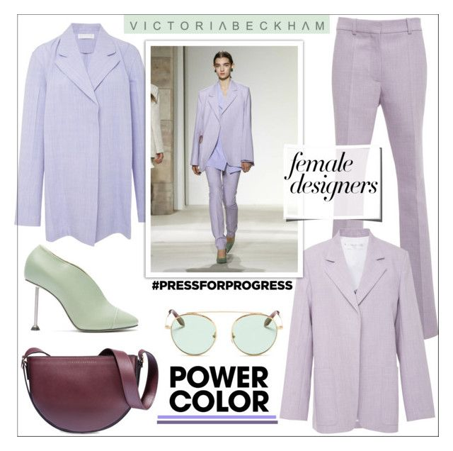 """Female Fashion Designer Rule: Purple Power"" by faten-m-h ❤ liked on Polyvore featuring Victoria Beckham, victoriabeckham, purplepower, internationalwomensday and pressforprogress"