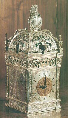 A silver gilt clock given to Anne Boleyn by Henry VIII, her falcon emblem can just be glimpsed on the side shield.