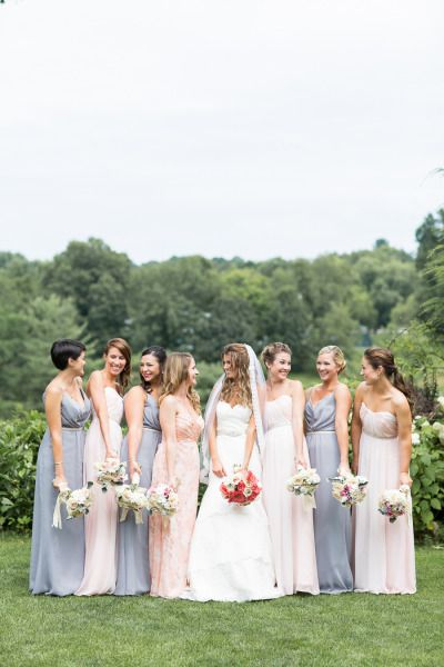 Perfect mix-and-match bridesmaid outfits: http://www.stylemepretty.com/little-black-book-blog/2015/01/12/summer-wedding-at-crabtrees-kittle-house-inn/ | Photography: Kelsey Combe - http://kelseycombe.com/