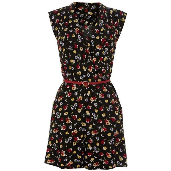 Vintage Floral Print Sleeveless Romper ($30) ❤ liked on Polyvore featuring jumpsuits, rompers, shorts, vestidos, black, sleeveless romper, jumpsuits & rompers, black romper jumpsuit, jump suit and floral rompers