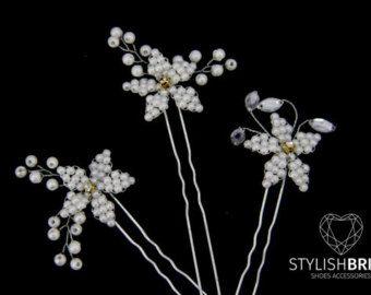 Wedding Floral Hair Pins, Wedding Pearl Hair Pins, Wedding Hair Accessories, Bridesmaid Hair Accessory, Pearl Hair Grips