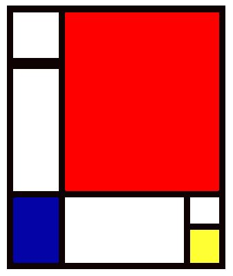 Mondrian. Simple planar design, sleek modern.the dimension are 33.85 inches by 25.98 inches. Planar = 1.3029