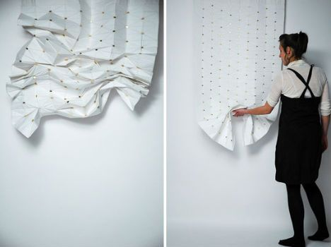 Magnets sewn into the fabric of this curtain/window shade by designer Florian Kräutli make it possible to easily move the curtain into practically endless shapes. It's almost like having a constantly changing art exhibit as part of your home furnishings. It's just a concept, but the design would make any origami enthusiast eager to try out new designs.