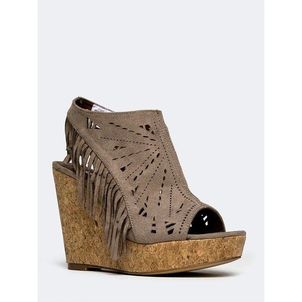 Not Rated Fringe Delight Wedge ($50) ❤ liked on Polyvore featuring shoes, not rated shoes, fringe wedge shoes, fringe shoes, wedge heel shoes and wedges shoes