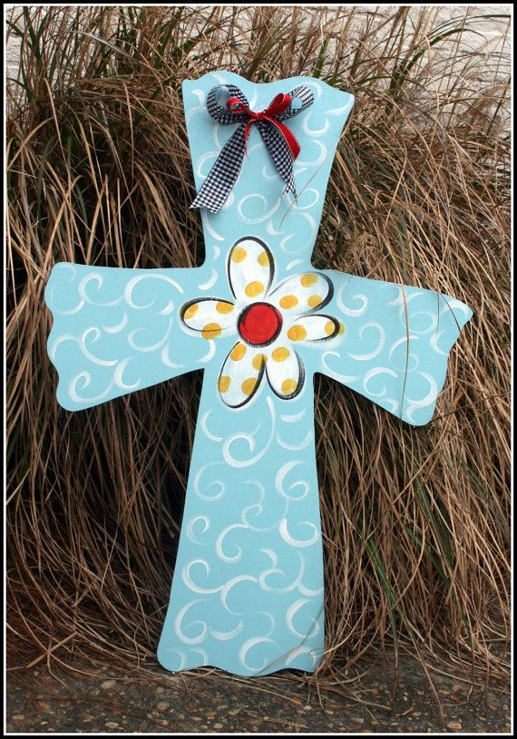 wooden crosses painted | Large Wooden Cross Door Hanger Decor Art Hand Painted