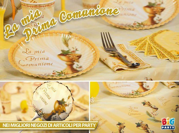 Un coordinato tavola pensato per la festa della prima comunione.  www.bigparty.it