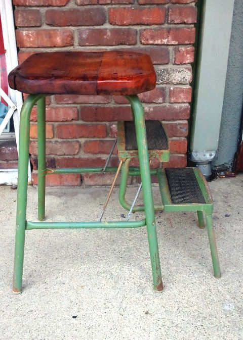 Rustic Industrial Step Stool With Foldable Steps And