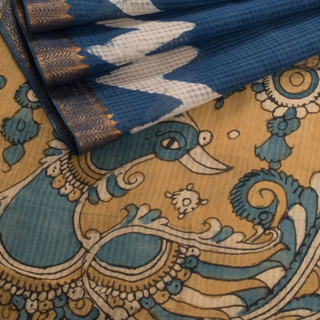 Hand Painted Blue Pen Kalamkari Mangalgiri Cotton Saree With Zig Zag Design, Floral Motifs & Zari Border - AVISHYA.COM