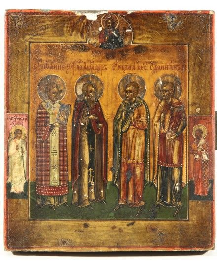 RUSSIAN ICON FOUR SAINTS 19TH CENTURY VLADIMIR REGION
