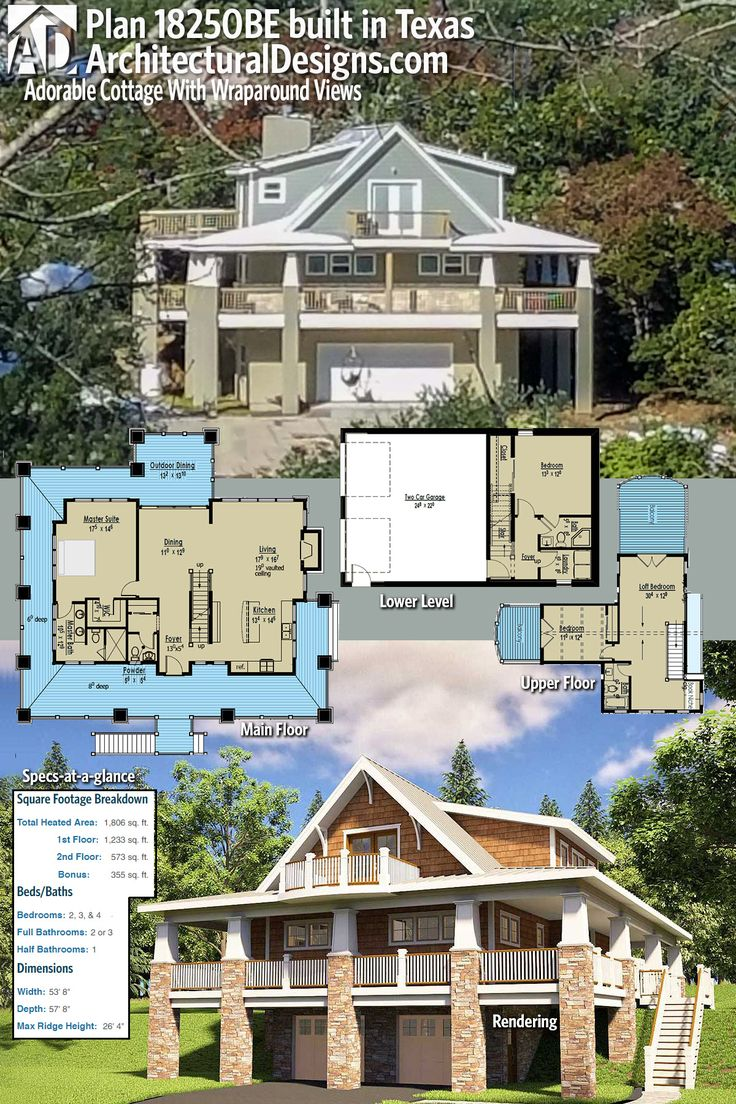 Plan 18250BE Adorable Cottage With Wraparound Views