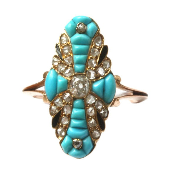 Antique. 18k Gold, Enamel, Calibré Turquoise and Diamond Ring, French, 19th Century.