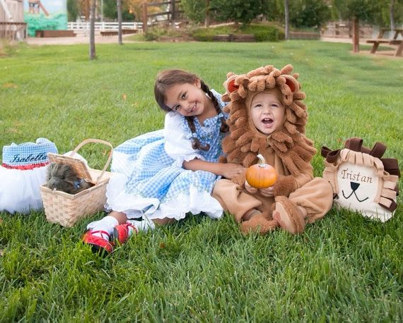 Personalized Brother and Sister Halloween Trick or Treat Bags - For Dorothy and Lion costumes