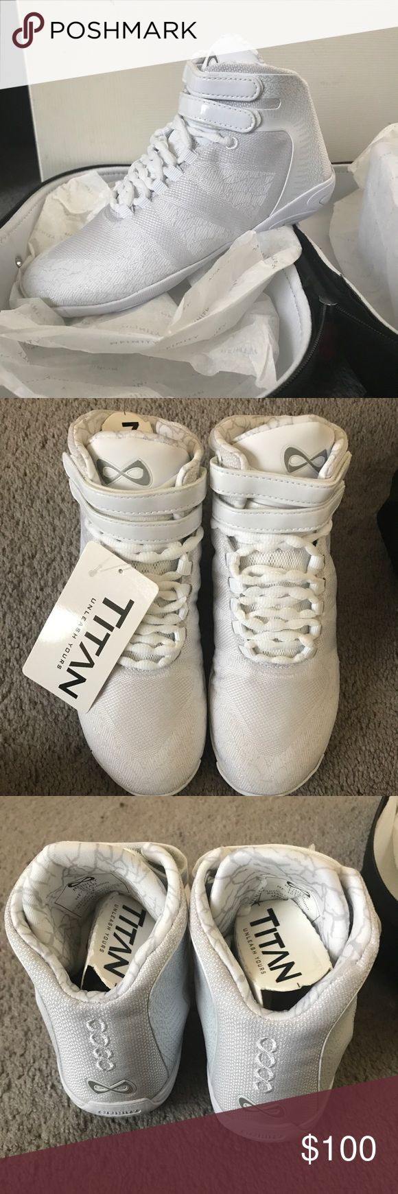 nfinity titan adult cheer shoes size 5 white high top nfinitys brand new and never been worn!!! size 5   $119 is the price listed on their website NFINITY Shoes Athletic Shoes