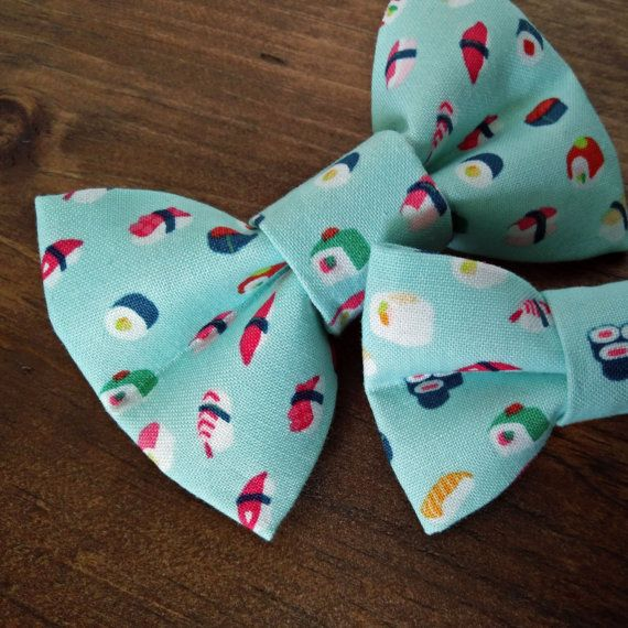 Pet Bow Tie Baby Blue Cotton Sushi Pattern / Dog Bow Tie / Cat Bow Tie / Kawaii