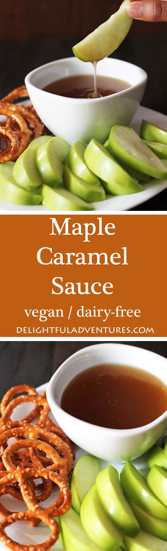 A quick, easy, and decadent maple caramel sauce that you'll want to put on everything from ice cream, sticky toffee pudding, pancakes, waffles and more! #vegancaramelsauce #dairyfreecaramelsauce #maplecaramelsauce #vegancaramel #veganglutenfree via @delighfuladv