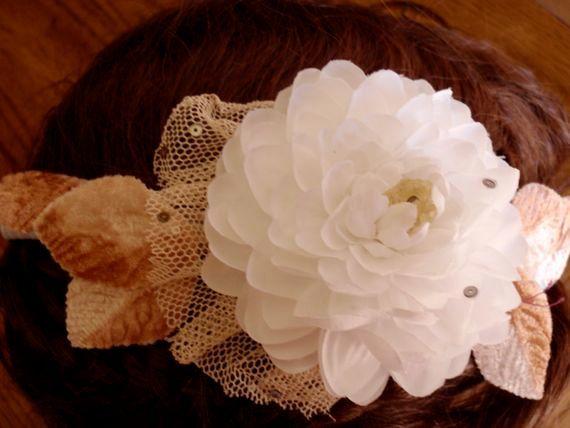Vintage Style Camellia Wedding Headband