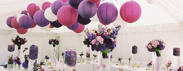 Paarse lila lampion Communie Babyshower Trouwsinspiratie Bruiloft ideeën