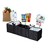 """Deler Foldable 4-Compartment Trunk Organizer with Cooling and Insulation for Car,SUV,Minivan and Truck,Sturdy and Flexible (45.2""""11.8""""11.8"""")"""