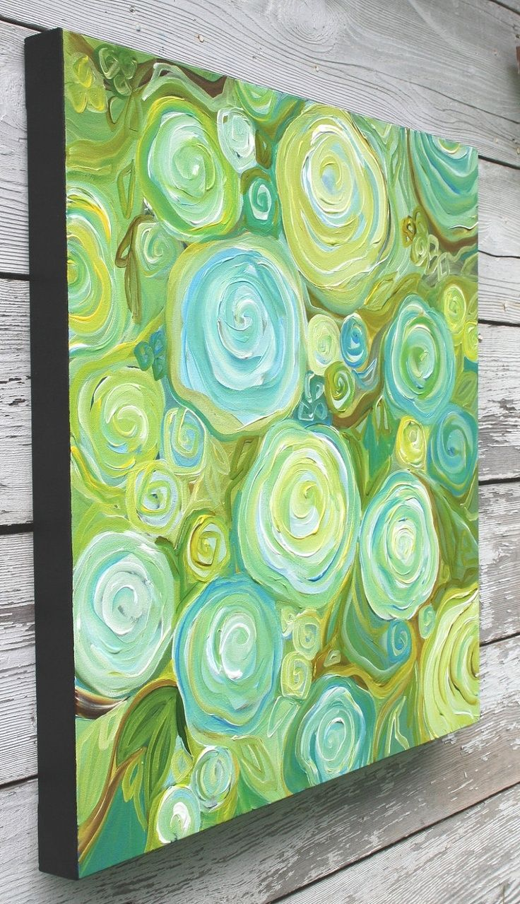 Painting Title: Summer Roses This is an original acrylic abstract painting of a garden of roses. Lots of wonderful texture and subtle colour changes in this very modern piece. Colours: aqua, turquoise, baby blue, green/gold, moss green, pale yellow, honey brown, white. 24x24 inches (1.5 inch depth) Painted with professional grade acrylics and sealed with a clear coat of matte varnish to protect your investment. Sides are painted black, no framing required. Ready to hang with a wire o..