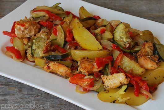 pieczone warzywa z kurczakiem