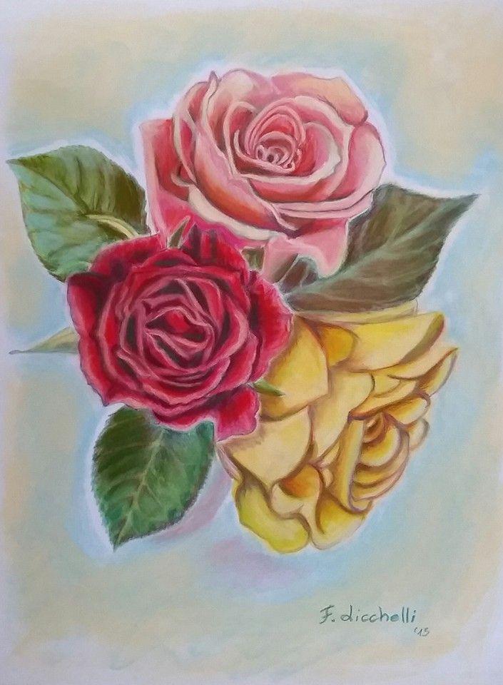 """Tre rose"" - pastelli morbidi su carta vellutata - misure: 30 x 40 cm. - anno: 2015 #art #pastelrose #artwork www.francescalicchelli.etsy.com"