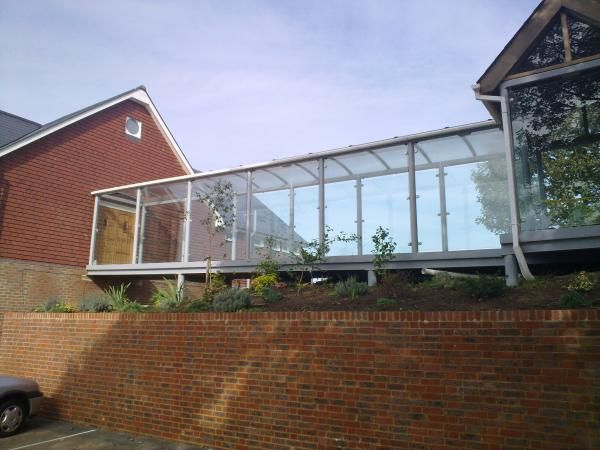 Residential Covered Walkways | St Marks Church Hall - Covered Walkway | Clovis Canopies UK ...
