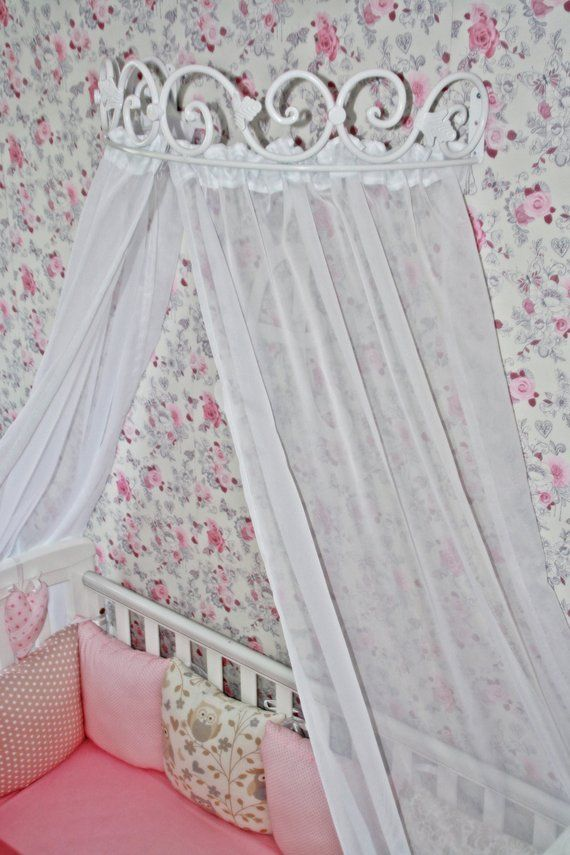 Bed Canopy Holder Crown Curtains Handmade Blacksmith Metall Wall Mount Corona Baby Cribs Children Princess Hardware Birthday Christmas Gift Baby Cribs Bed Curtains