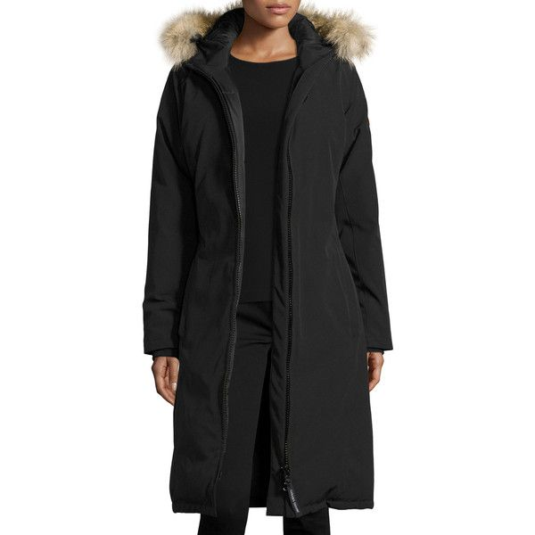 Canada Goose Whistler Fur-Trim Hooded Parka Coat ($850) ❤ liked on Polyvore featuring outerwear, coats, black, parka coats, canada goose parka, hooded parka coat, canada goose and fur-lined parkas