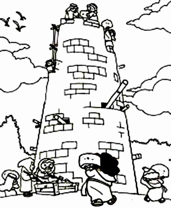 24 Tower Of Babel Coloring Page In 2020 Coloring Pages Cute