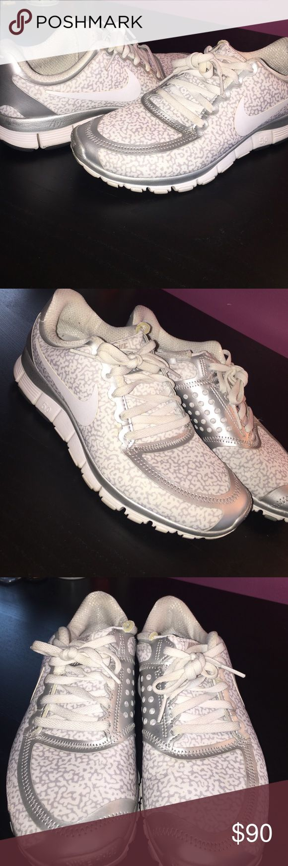 Nike Free 5.0 white & silver leopard  - Size 9 Size 9. Leopard print. Nike Free 5.0 sneaker. Only worn a few times. Light signs of use. See pictures! Awesome condition!!! Nike Shoes Athletic Shoes