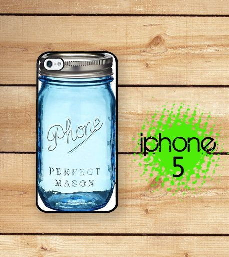 Blue Mason Jar Phone Case / Hard Case for iPhone 5 Plastic or Rubber Trim iPhone 5S Case / iPhone 5 on Etsy, $17.95
