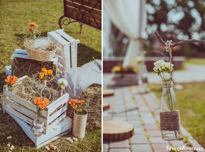 Оформление эко-свадьбы в винной тематике
