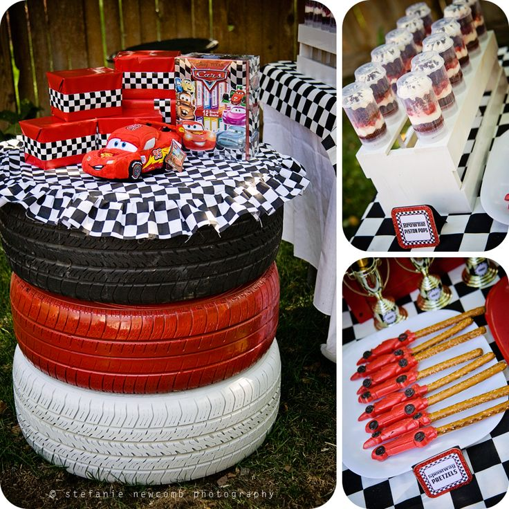Love this! Painted tires for a little boy's birthday party! #recycle #Re-Tire #rubberofftheroad