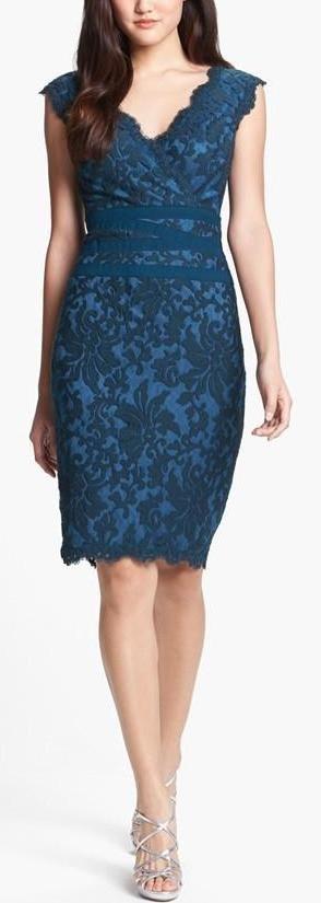 @roressclothes clothing ideas   #women fashion blue Tadashi Shoji Lace & Tulle Sheath Dress: