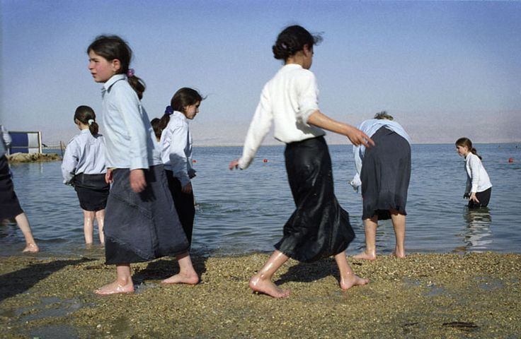 Image: For Ultra Orthodox Jewish Groups special beaches are often provided and, in addition to this, females are kept apart from males. Girls are not permitted to undress in public, even though temperatures on this day were 36 degrees.