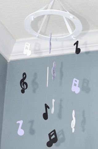 Musical Nursery Mobile - Musical Notes - Lavender, Black and White – Flutter Bunny Boutique, LLC