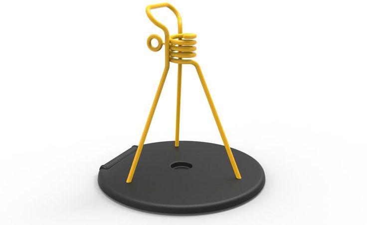 """Schirmständer """"Zébulon"""" überzeugt durch Funktionalität und Design. Griff und integrierte Rolle machen ihn handlich, mittels Drehschraube passt er sich allen Schirmstangen an. Außer in Gelb ist er noch in 22 weiteren Farben lieferbar"""