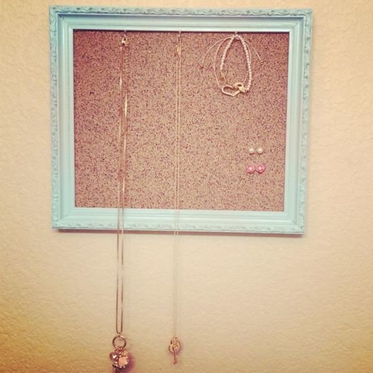 Jewelry Holder Vintage Frame Spray Painted Baby Teal