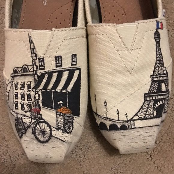 Hand painted Paris Toms Only worn once TOMS Shoes
