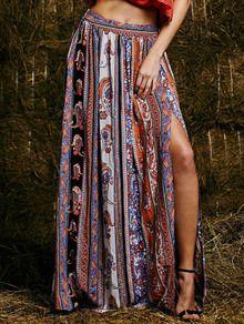 jupe fendue vintage -multicolore