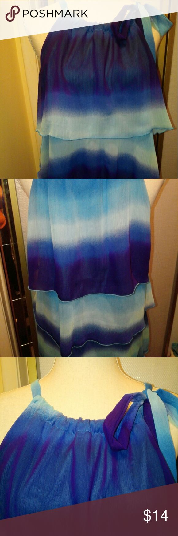 Sleeveless Umbre Tier Top Beautiful Tiered Top in various shades of blue. With one shoulder tie, soft and flirty EUC Lane Bryant Tops