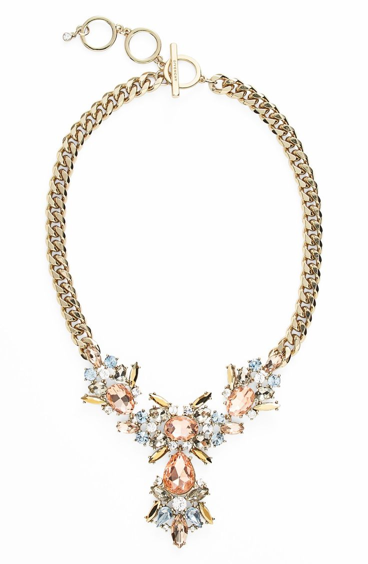 This gold and rose crystal statement necklace is simply stunning.