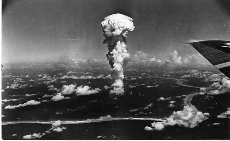 """The """"Able"""" test of Operation Crossroads, the first atomic bomb dropped on the Bikini lagoon, on July 1, 1946. It was detonated at a height of 520 feet above the ground. Credit: Government photo in the public domain."""