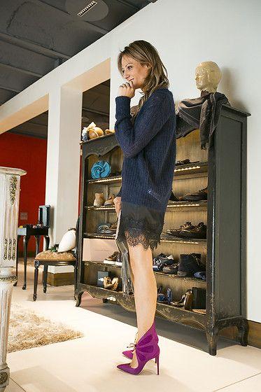 Zara Pullover, Paula Boutique  Lace Slip, Alejando Ingelmo  Boots