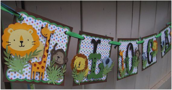 Handmade Banner - Custom made - GO GREEN - Name Banner Happy Birthday Baby Shower Bridal Shower Safari Animals