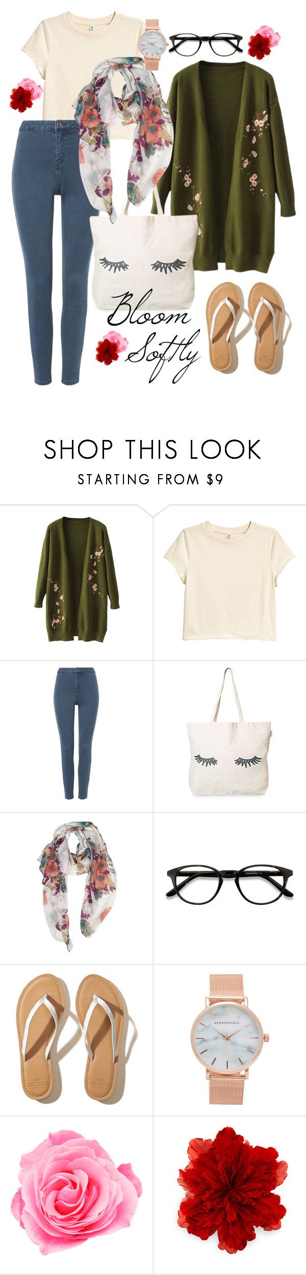 """""""Bloom Softly"""" by afifahafifa on Polyvore featuring H&M, EyeBuyDirect.com, Hollister Co., Aéropostale, Gucci, soft and flowery"""