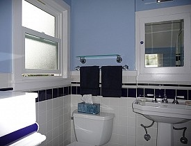 Sweet, classic light blue bathroom. Simple and perfect.