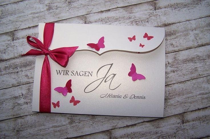 besondere Einladung Schmetterlingsschwarm fuchsia von Kartenmanufaktur Arndt auf DaWanda.com