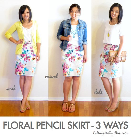 One Piece Many Ways | Floral Pencil Skirt - 3 ways Style tips, fashion trick