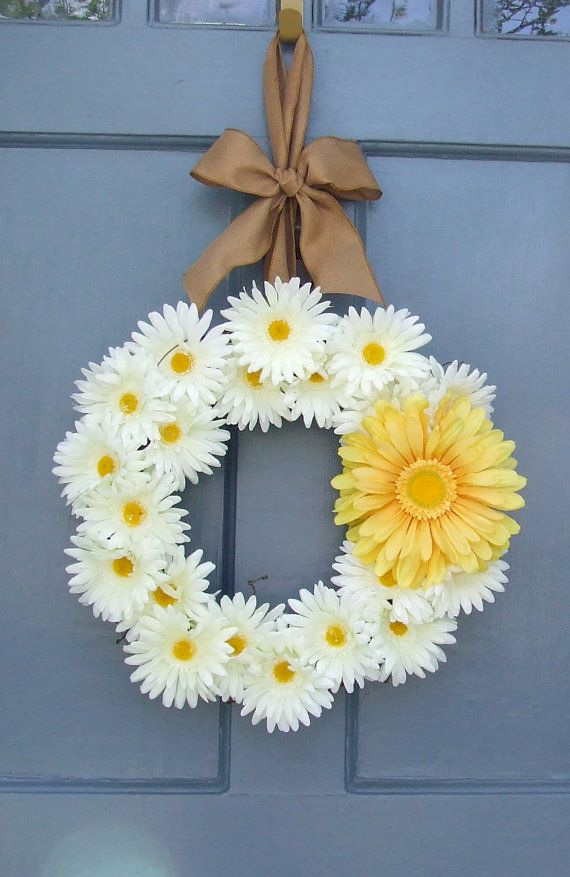 White and Yellow Daisy Wreath by MonicaMurrayHome on Etsy